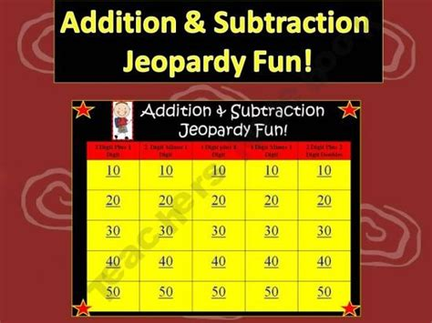 Addition Subtraction Jeopardy Fun 2nd 3rd Grade Math Free Math Jeopardy