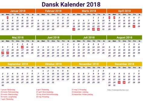 Kalendar 2018 Danmark Dansk Kalender 2018 Kelender 2018
