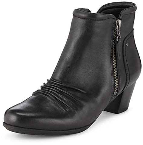 marks and spencer footglovetm leather ruched ankle boots