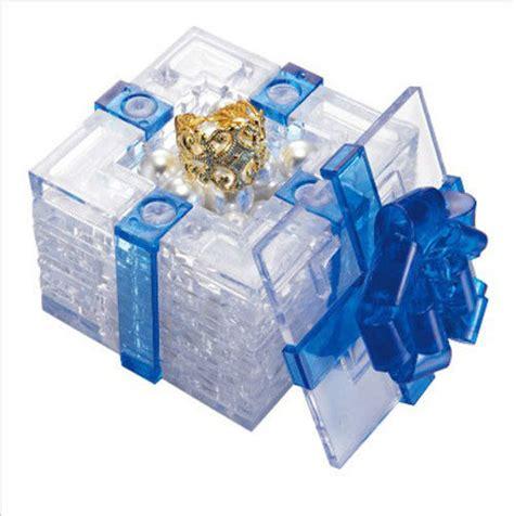 3d puzzle 38 pieces quot gift box blue quot crystal puzzles ebay