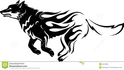 flaming wolf or siberian husky stock vector image 53530388
