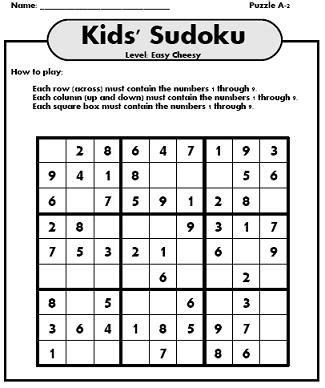 printable kid sudoku puzzles sudoku for kids