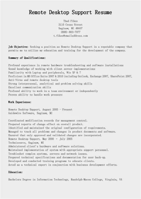 field technician resume sles technical support resume for experienced www