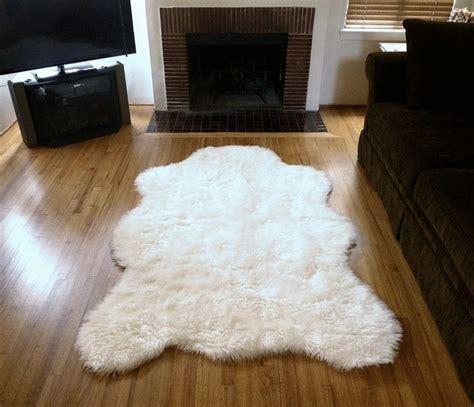 white bearskin rug plush faux fur polar rug from