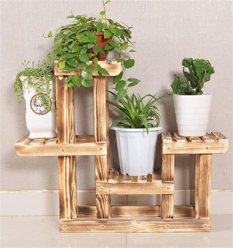 desain pot bunga kayu ruang tamu tanah pot bunga berdiri multi layer rak kayu