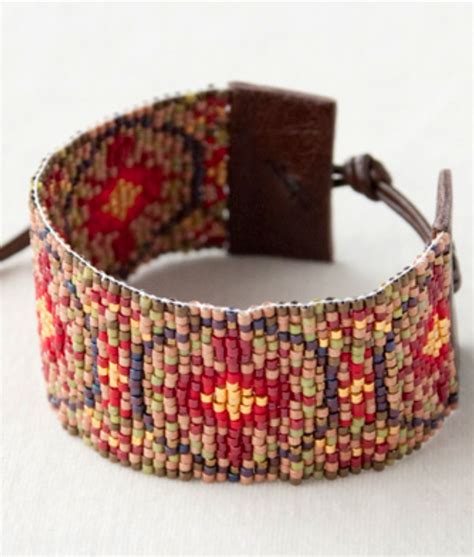 Bead Woven Bracelet bead woven bracelet with leather ends bead weaving and
