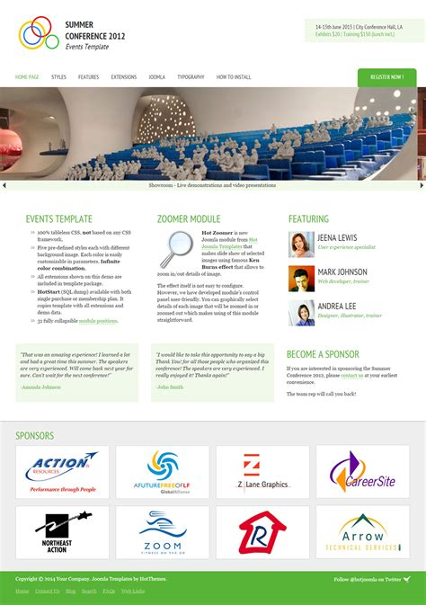 event management joomla website templates themes free