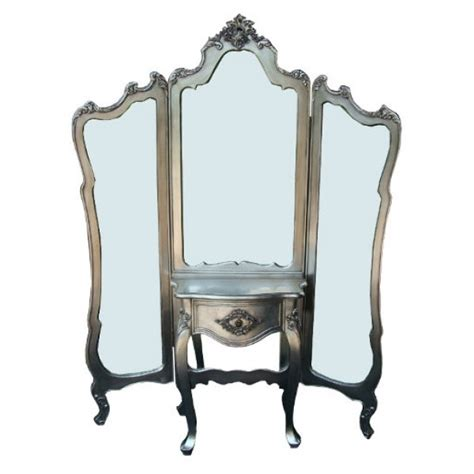 Antique Vanity Dressing Table With Mirror by Silver Antique Shabby Chic Length 3 Panel Mirror