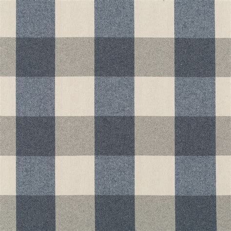 Navy Blue Plaid Wool Upholstery Fabric Modern Blue Taupe