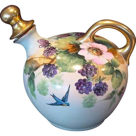 bird blackberry whiskey austrian porcelain whiskey jug decanter painted