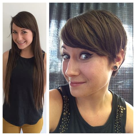 best way to sytle a long pixie hair style haircut on long hair brunette to a pixie hair cut anne