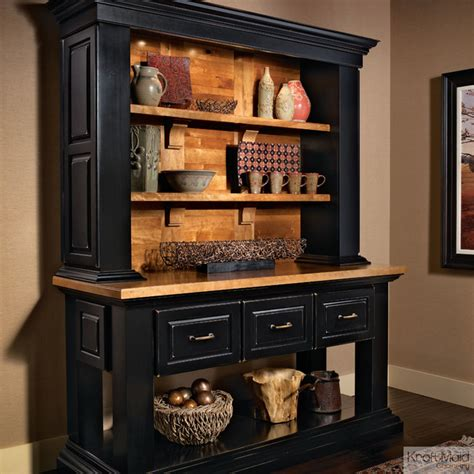 Kitchen Furniture Hutch Kraftmaid Hutch In Onyx Rustic Kitchen Cabinetry