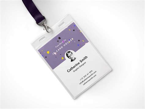 design id card holder identity card holder psd mockup with lanyard psd mockups