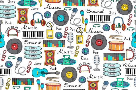music pattern tumblr pattern with cartoon music symbols patterns on creative