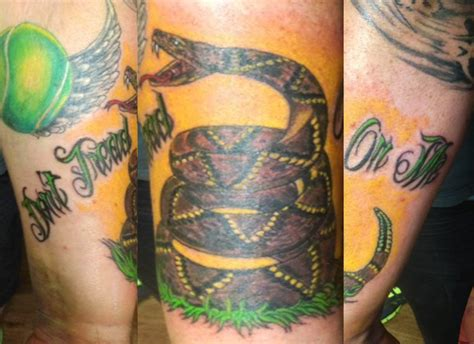 gadsden tattoo gadsden flag don t tread on me done by joker at