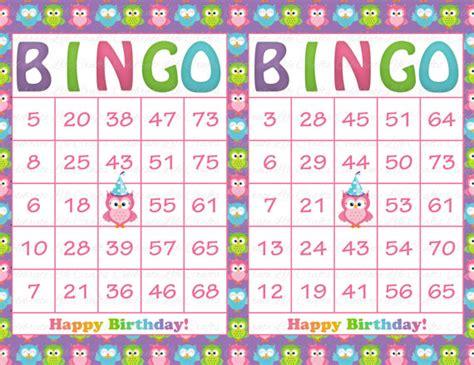 printable birthday bingo cards 30 purple rainbow owl birthday printable bingo cards