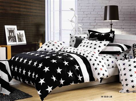 star bedding white and black star patterns designer 3d queen king size