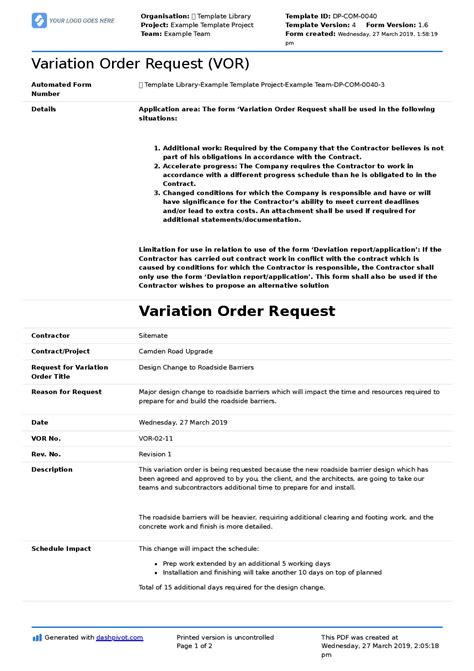 variation order request form template
