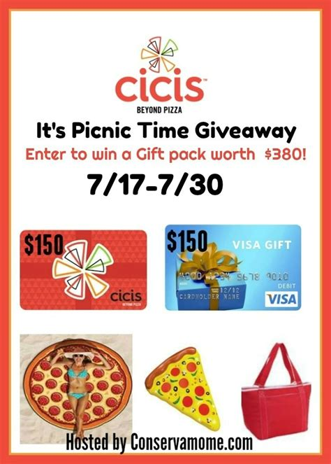 Cici S Gift Card - win a 150 cicis pizza gift card and a 150 visa gc plus more