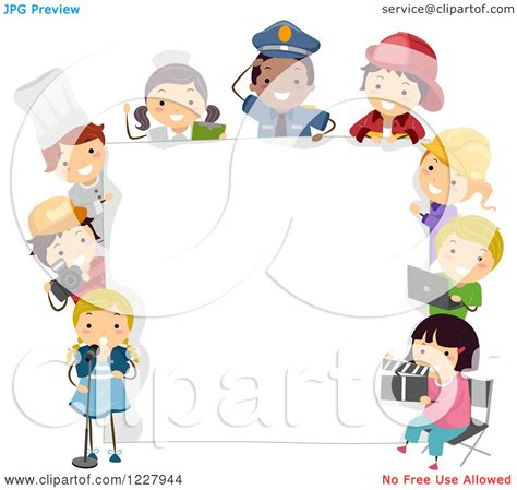 clipart of diverse children in occupational costumes