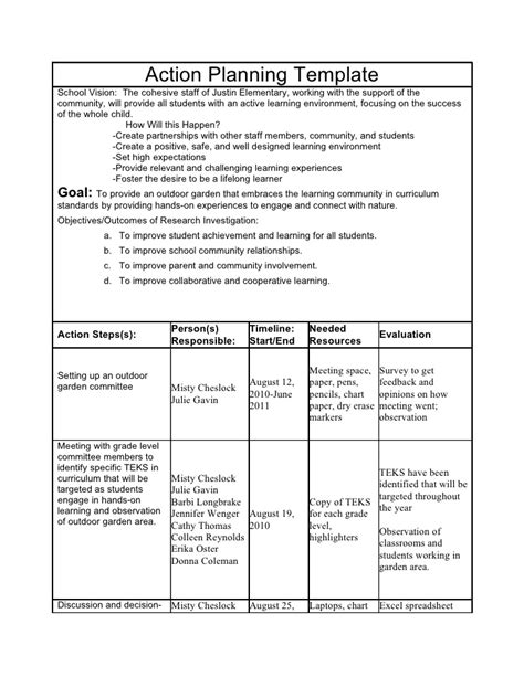 Action Research Plan Research Plan Template