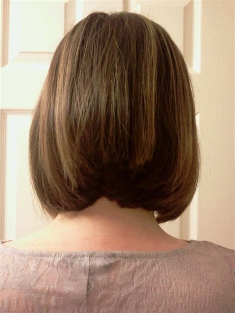 cut sholder lenght hair upside down angled bob back view with layers hair cuts by me