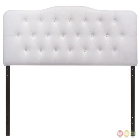 white arched headboard annabel faux leather button tufted arched headboard