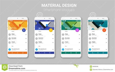 Material Design Mockup Kit | material ui screens mockup kit stock vector image 69068586