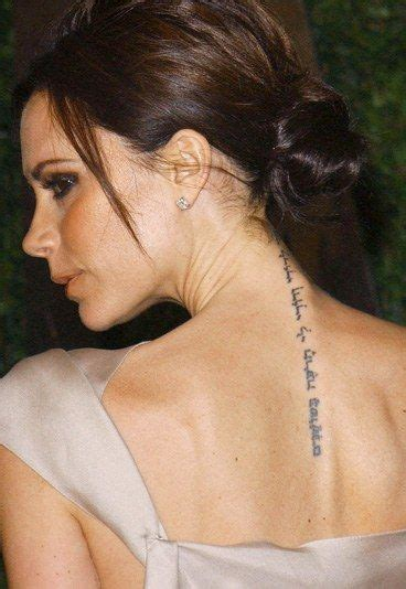 Victoria Beckham Tattoo What Does It Mean   female celebrity tattoos tattoo piercings and tatting