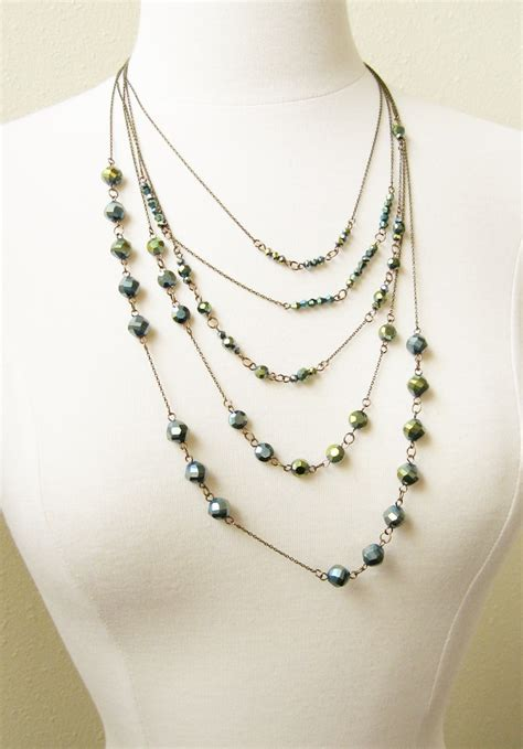 diy bead jewelry multi strand chain and bead necklace how did you make