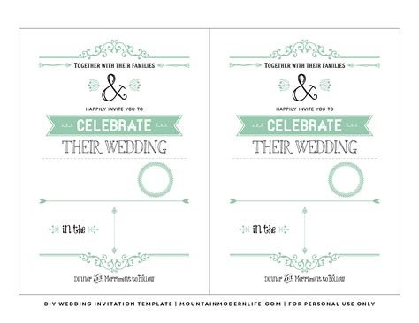 wedding invitations templates printable free wedding invitation template mountainmodernlife