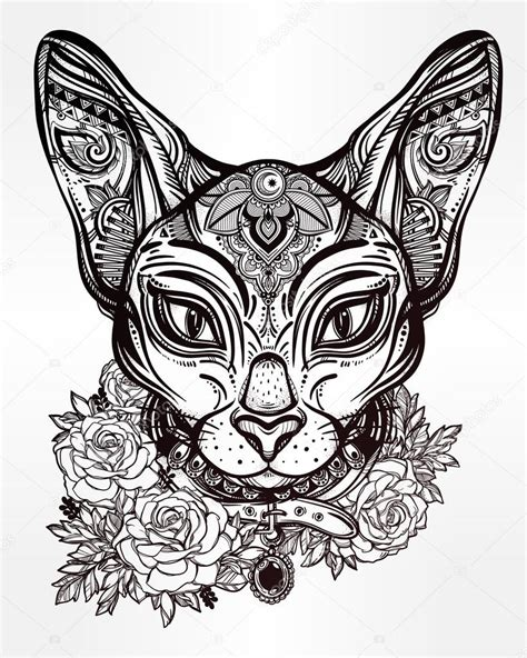 vintage ornate cat head with floral collar stock vector