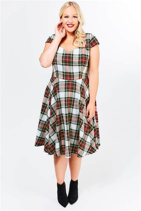 Check Midi Dress hell bunny green tartan check 50s midi dress plus