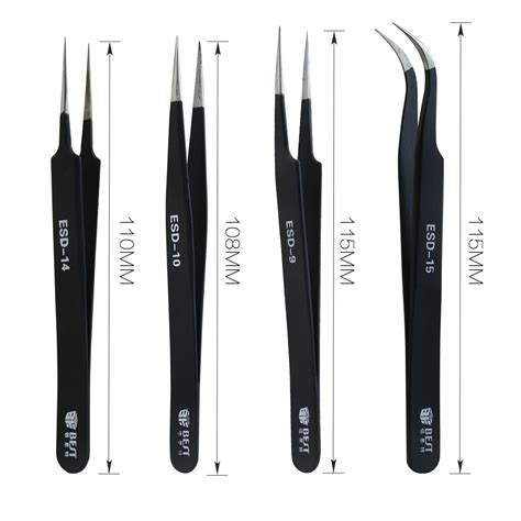 Jepitan Anti Static Model Curved Jakemy High Quality best esd anti static stainless steel tweezers for repairing