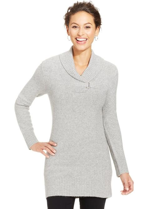 style co knit pattern tunic sweater style co style co petite shawl collar buckle sweater