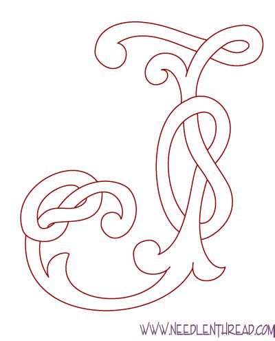 Letter J Drawing by Monogram For Embroidery Celtic J Needlenthread