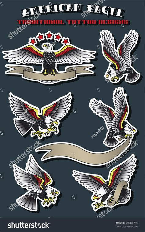 traditional eagle tattoo vector vector american eagle set vintage traditional stock vector