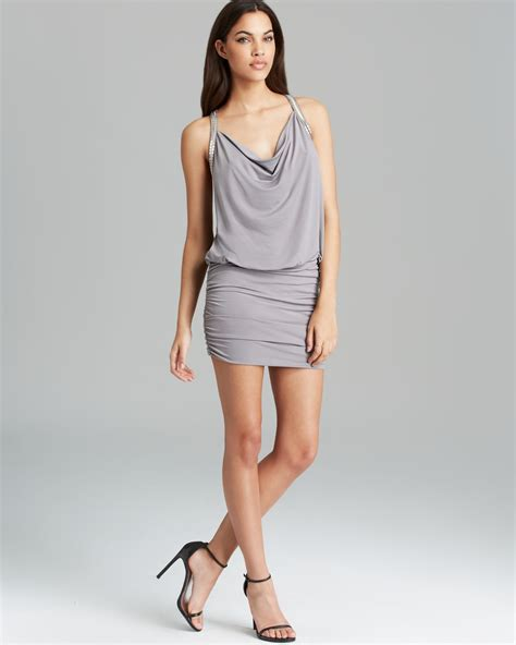 Guess Dress Spandek lyst guess dress beaded v back in gray