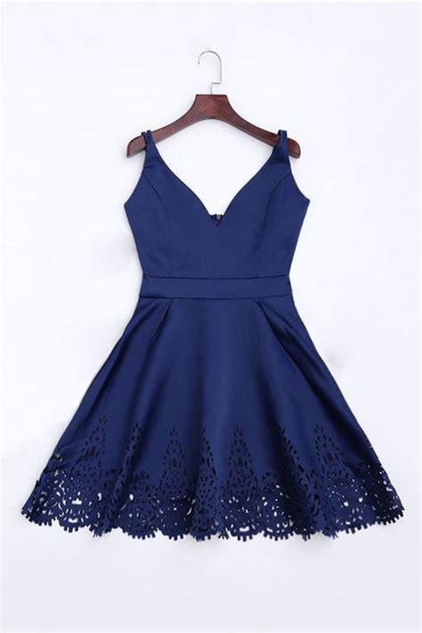 simple dark blue short prom dress cute homecoming dress