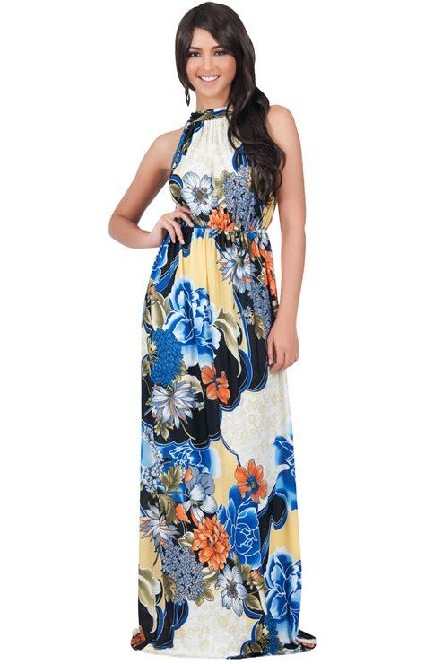 Top Five Print Maxi Dresses by Natalie Sleeveless Floral Print Halter Neck