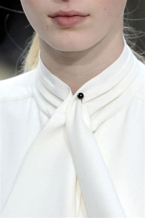 Tie Neck Collar Sweater white shirt collar detail neck tie tucks around the