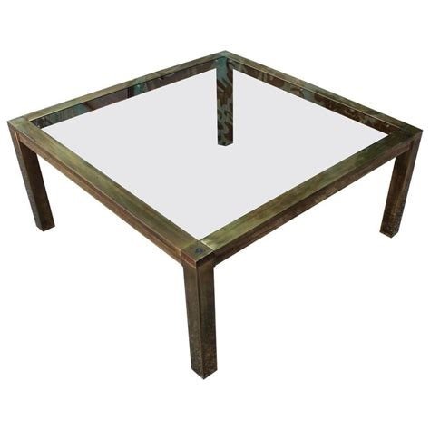 bold brass and smoked glass square modern coffee table for