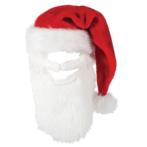 mens red deluxe plush santa claus hat with beard xm4536