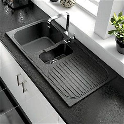 wickes kitchen sink wickes rok metallic 1 1 2 bowl kitchen sink black 163 99