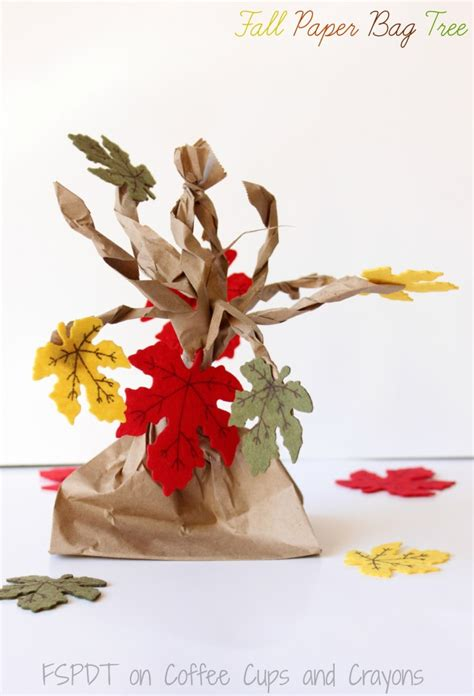 Paper Bag Tree Craft - fall paper bag tree coffee cups and crayons