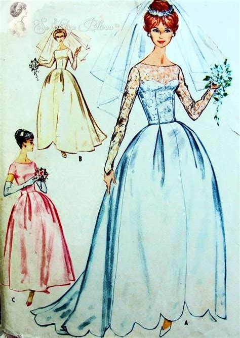 pattern dress with train 1960 beautiful wedding gown or bridesmaids dress pattern