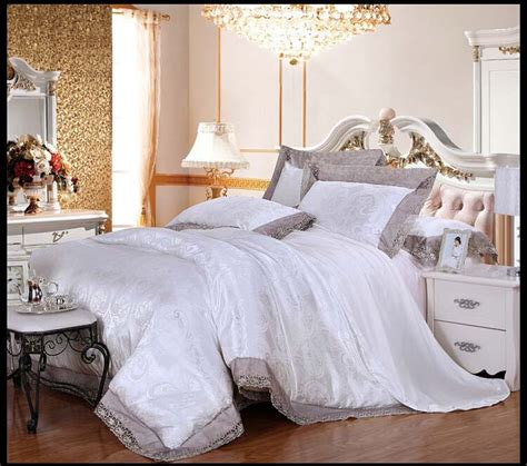 luxury white bedding 4pcs wedding white bedding sets luxury modal silk cotton queen king duvet comforter