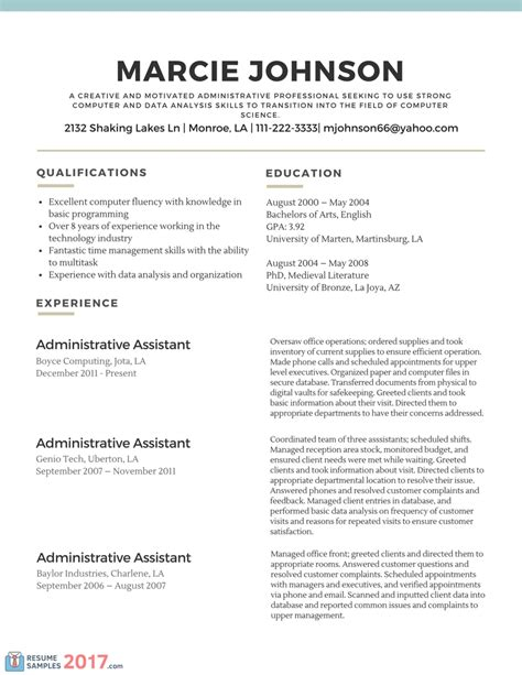 Resume Template 2017 Exles Resume Template 2017 Resume Builder