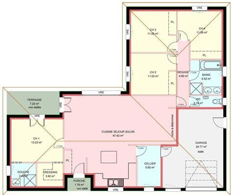 Plan Maison Plain Pied Gratuit 3207 by Plan De Maison Plain Pied 4 Chambres Immobilier Pour