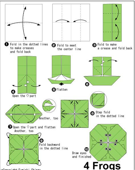 How To Make A Frog Out Of Paper - diagram
